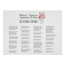 Watercolor Peonies In A Mason Jar Seating Chart