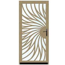 solstice outswing security door with glass insert and oil rubbed bronze hardware