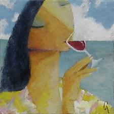 woman drinking wine painting caribbean wine tasting by glenn quist
