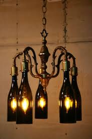 shabby chic chandelier wine bottle frame chandeliers lights plug in floor lamp parts pottery barn kit table led light cord decorated bottles with