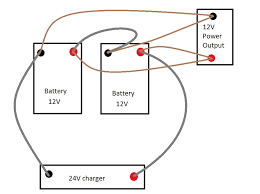 batteries charge at 24v and discharge at 12v for battery system how to wire two 12 volt batteries to make 24 volts at 24 Volt System Wiring Diagram