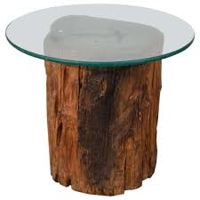 coffee table base reclaimed tree stumps tree trunk glass outstanding