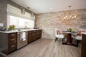 Stone Wall Tiles Kitchen Contemporary Cabinetry Faux Wood Floor Tile Stacked Stone Wall