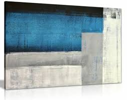 blue grey white abstract painting