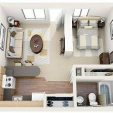 Beautiful 3D One Bedroom Tiny Home Floor Plans For New Parent