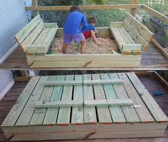 diy covered sandbox with fold out bench seats