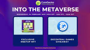 """CoinGecko ar Twitter: """"Joining us at CoinGecko's Decentraland HQ for the  meetup with @miles1dg, @DCLBlogger, and @AndrewSteinwold? Make sure to  explore our HQ to claim our exclusive Meetup NFTs from the @poapxyz"""