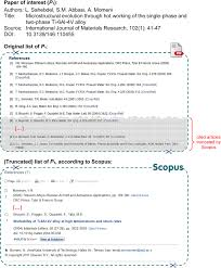 Example Of Cited Article List Truncated By The Scopus Database Only