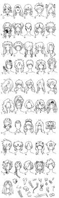 A Large Chart Of Hair Style Ideas For When Creating An Anime