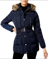 nwt women michael michael kors hooded faux fur trim down belted navy coat s