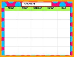 Monday To Friday Schedule Through Printable Weekly Schedule Monday Friday Template Monthly