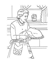 Small Picture Thanksgiving Dinner Coloring Page Sheets Grandmother cooking