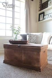 Some of these trunk coffee tables are brand new and draw inspiration from vintage designs while others are truly vintage and have been give a gorgeous the suitcase coffee table is often an addition that comes about because you have an old trunk or suitcase in the house that has collected dust and. Pottery Barn Inspired Chest Coffee Table Shanty 2 Chic