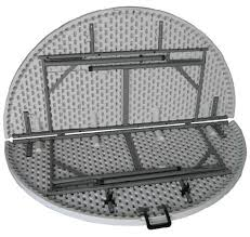round folding table close up showing folding mechanism