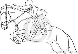 Paard Kleurplaat Spring Zeigen Sie Springenden Pferden Vektor