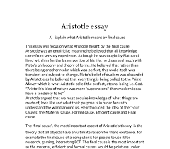 explain what aristotle meant by the final cause a level  document image preview