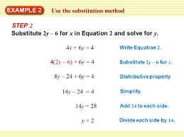 example 2 use the substitution method substitute 2y 6 for x in equation 2 and