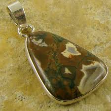details about rainforest jasper semi precious stone 925 sterling silver pendant necklace 336d