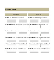 Free Grocery List Templates – Msdoti69