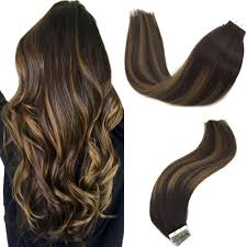 Dark Brown Hair Light Brown Balayage Googoo Hair Extensions Tape In Ombre Dark Brown To Light Brown Balayage Real Remy Human Hair Extensions Tape In Natural Hair 20pcs 50g 14 Inch