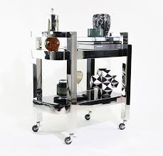 nickel plated drink trolley with black glass  the cool hunter
