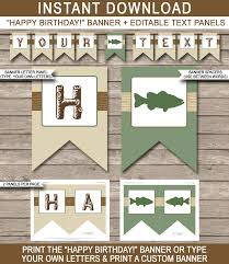 fishing party banner template fishing bunting happy birthday banner birthday party editable