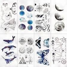Geometrické Planety Dočasné Tetování Pro Děti Holka Měsíc Les