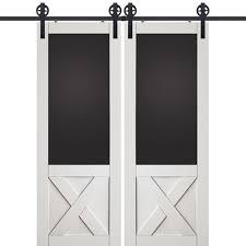 glasscraft model mdf 3 4 panel blackboard with crossbuck barn door 2