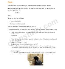 Class9th|Class IX CBSE Chapter Notes: Work and Energy (Class 9 ...
