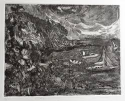 """Storm Coming"""" original, framed etching by Avis Hodge...the thrill of a  summer storm!"""
