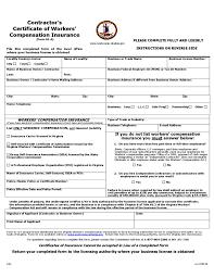 Contractors Certificate Of Workers Compensation Insurance