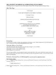 Sbl Style Sheet Citation Bible