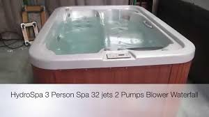 hydro spa hot tub 3 person 32 jets 2 pumps blower the spa guy