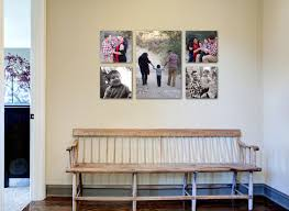 canvas family photo wall display ideas in the corridor house with white wall interior color plus vintage diy woooden bench seat ideas photos of family