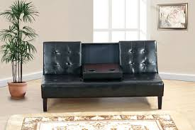 adjustable sofa with console black faux leather