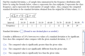 image for find the standard deviation s of sle data summarized in the frequency