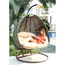outdoor furniture swing chair durable double seat wicker hanging swing egg chair patio furniture latte color garden swing chair outdoor furniture