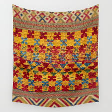 ait ouaouzguite berber antique moroccan saddle rug print wall tapestry