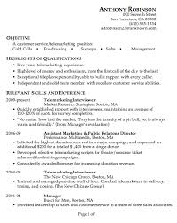 Examples Of Good Resume Cool Resume Sample Customer Service Telemarketing