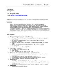 Web Developer Resume With Sql Server Project Or Web Development