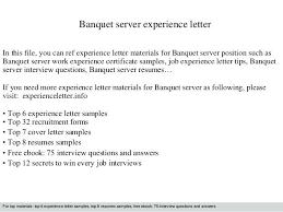 Banquet Server Cover Letter Sample Server Resume Examples Food