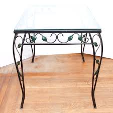 Vintage wrought iron glass top table