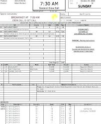 Call Sheet Template Production Documents Free Film Excel Juanbruce Co