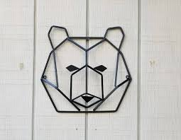 description this geometrical bear head  on metal bear head wall art with metal wall decor iron bear head cabin decor iron wall
