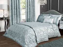deluxe boston jacquard damask duvet set in duck egg blue