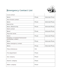 Emergency Contact Forms For Children Babysitter Template Forms Babysitting Receipt Printable For Medical