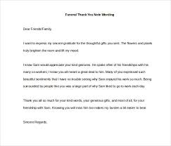 Thank You Note After Funeral To Coworkers 7 Funeral Thank You Notes Free Sample Example Format
