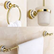 luxury bath accessory set 3 pecs golden bathroom accessories towel ringtoilet brush holder accessories luxury bathroom