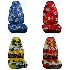 hawaiian print car seat covers front semi custom blue red yellow palm flowers