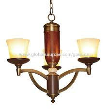 china shenzhen chandelier lamp e27x3 antique brass iron red wooden pendant light with 3